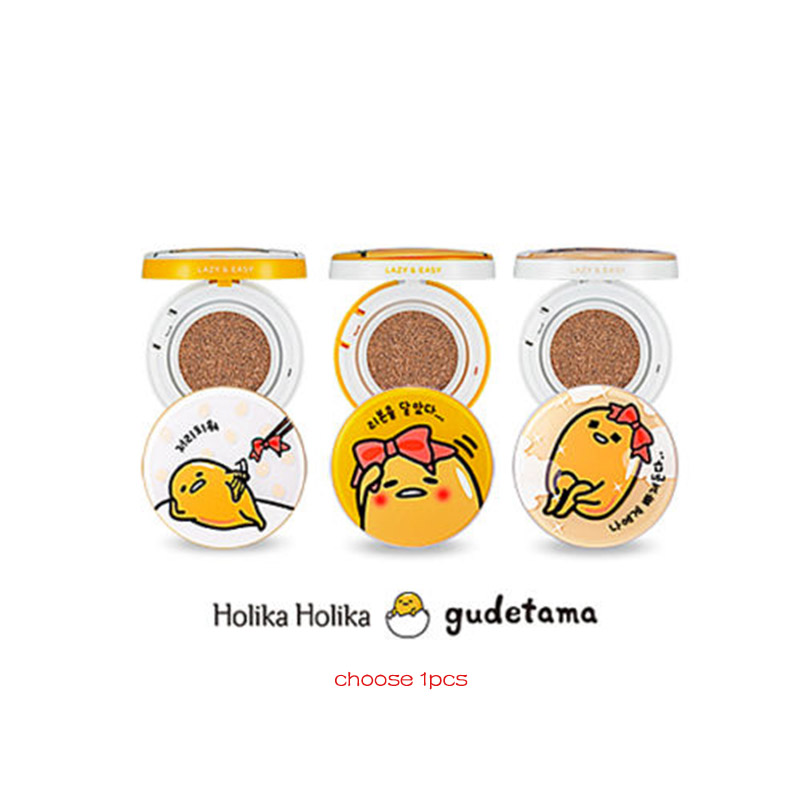 HOLIKA HOLIKA Gudetama Face 2 Change Photo Ready Cushion BB Cream 15g Concealer Moisturizing Foundation Makeup BB Cream 1pcs bb крем the face shop photo blur bb cream spf37 pa объем 40 мл