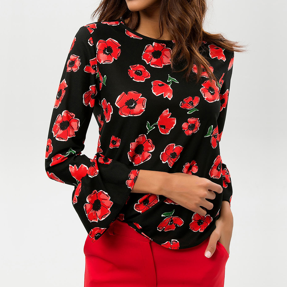 Spring Autumn Leisure Chiffon Shirt Women Blouses Fashion O Neck Flare Long Sleeve Flower Printed Shirts White Black Leisure Top