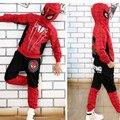 Новый Человек-Паук Дети Одежда Устанавливает Мальчики Человек-Паук Косплей Костюм Спортивный Костюм Дети Устанавливает куртка + брюки 2 шт. Девочек одежда DT0267