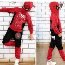 New Spider Man Children Clothing Sets Boys Spiderman Cosplay Costume Sport Suit Kids Sets jacket+pants 2pcs Girls Clothes DT0267