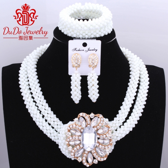 Milk White Delicate 2 Layers Hot African Beads Jewelry Set Nigerian Wedding Beads Jewelry Set Bridesmaid Necklace Jewelry Set