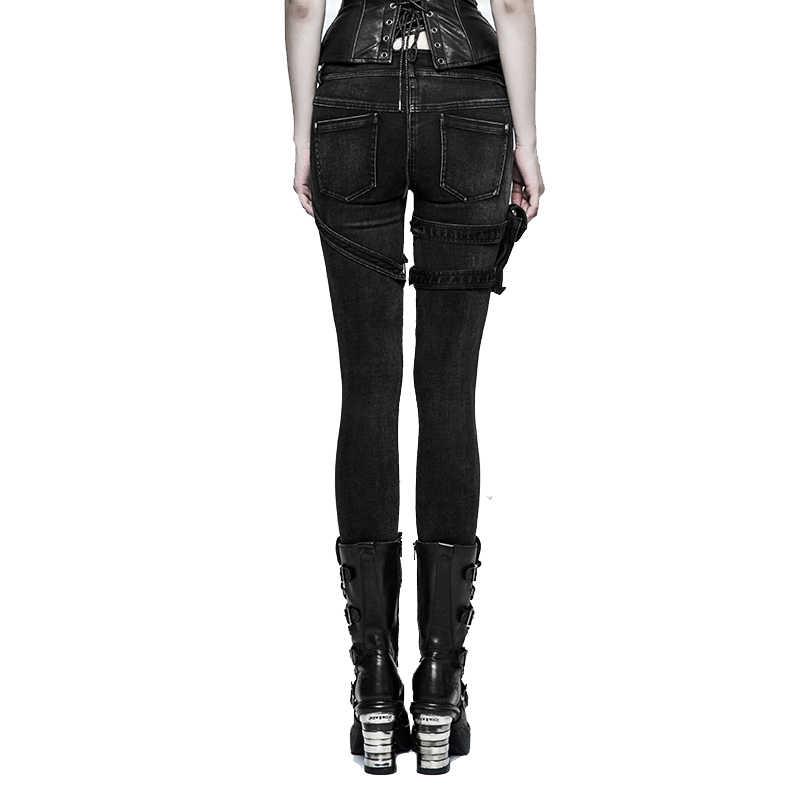 Punk Frauen Hosen Schwarze Dünne Bleistift Hosen Licht Waschen Kühlen Taschen Nieten Jeans Vintage Gespleißt Lange Hosen Rock Roll Mädchen jeans