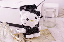 3D Bling Bling Crystal Pearl Black Hello Kitty Cabochon DIY Cell phone Case for iphone 7 plus case for samusng case(China)