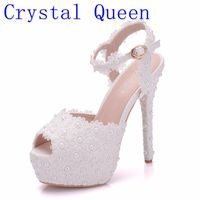 Crystal Queen White Lace Flower Wedding Shoes Slip On Round Toe Bridal Sandals High Heel Women Pumps Shallow Round Toe