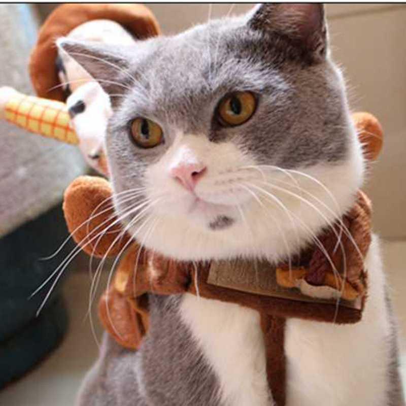 Divertente Modellazione Del Cowboy Sceriffo Woody Pet Gatto Vestiti Vestito  Ttransformation in Divertente Modellazione Del Cowboy Sceriffo Woody Pet  Gatto ... 596285b7cbf