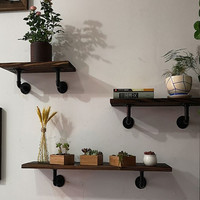 Modern 30 x 20cm Wall Shelf 2pcs Pipe Support Wooden Diy Decorative Nordic Shelve for Home Decor Living Room