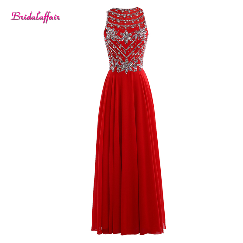 BridalaffairReal Photo Red Beads O Neck A Line Long   Evening     Dresses   2017 Sleeveless Chiffon Appliques Prom Gown Vestido de festa