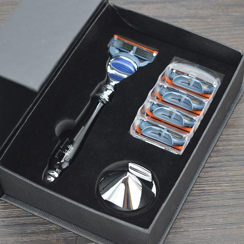 Dscosmetic Luxury Black Color 5 Layer Blades Men Shaving Razor With Resin Handle