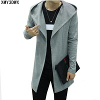 2017 Spring And Autumn In The Long Sweater Male Cardigan Korean Slim Trench Coat Young Solid