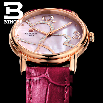 Sweet Pink Watches for Women LOVE Crystals Watch 3Bar Waterproof Leather Strap Wrist watch Quartz Shell Montre Femme Happy Hour
