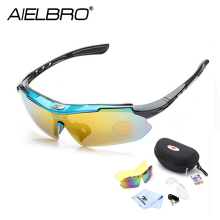 AIELBRO Men Cycling Eyewear Oculos Goggles Sunglasses Outdoor Sports 3 Lens