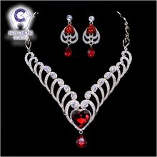 HanCheng Fashion Hollow Waves Golden Heart Rhinestone Created Crystal Wedding Necklace Earrings Jewelry Sets & more For Women(China)