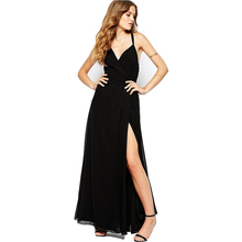 High Quality Black Women Party Dresses 2016 Fashion Spaghetti Strap Summer Dress Sexy Backless Elegant V-Neck Vestido De Festa