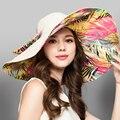 2017 Grandes Damas Elegantes Sombreros de Playa de Protección Solar A Prueba de agua Cubo Casquillo Hembra Iglesia Boho Summer Floppy Panamá Fedora Sombrero para el Sol