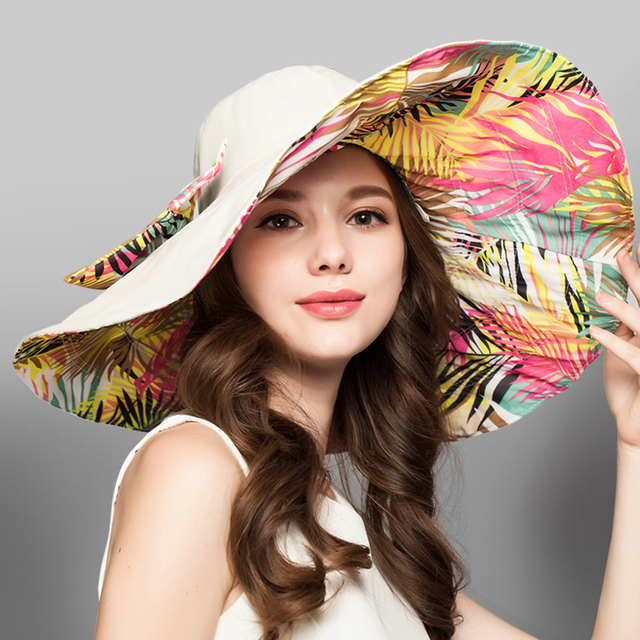 2017 Large Elegant Ladies Beach Hats Sun Protection Waterproof Bucket Cap Female Church Fedora Boho Summer Floppy Panama Sun Hat
