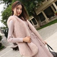 New 2018 Winter Faux Fur Vest Coat Luxury Sleeveless V neck Fur Cardigan Outerwear Waistcoat Vest for Women Winter Jackets X27