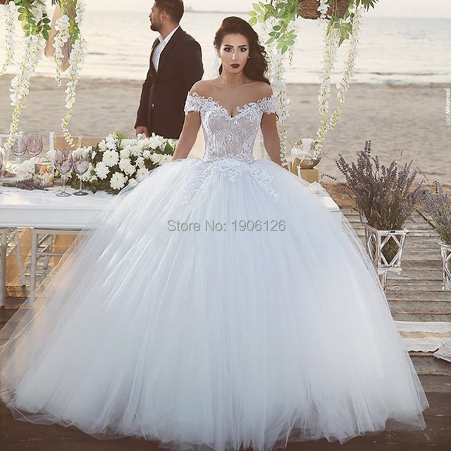 Arab Vintage Princess Wedding Dresses Tulle Ball Gown Off The ...