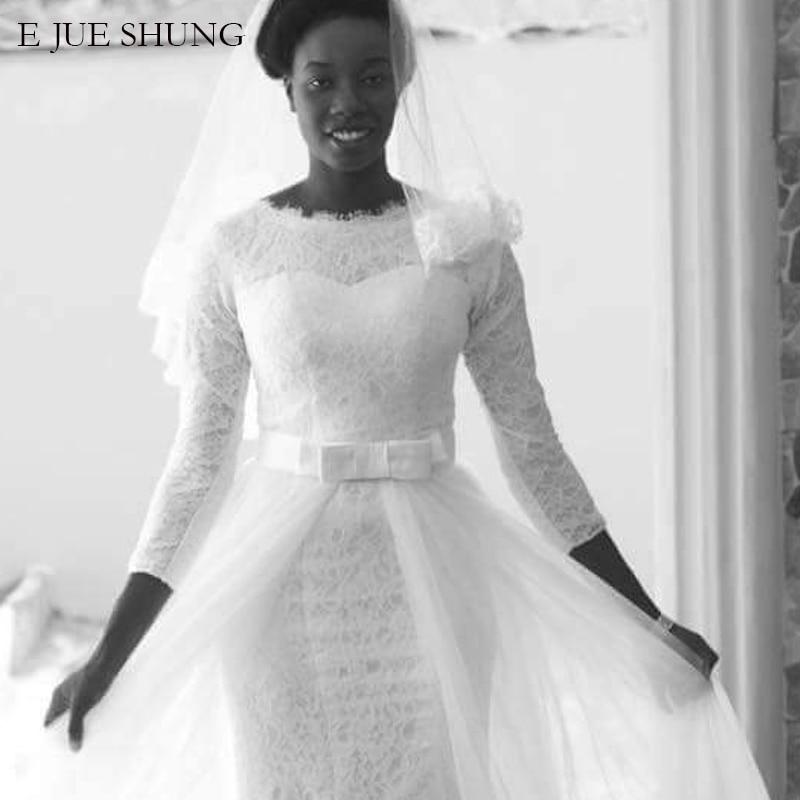 E JUE SHUNG White Lace Mermaid Muslim Wedding Dresses 3/4 sleeves Detachable Train Wedding Gowns Bride Dress robe de mariee