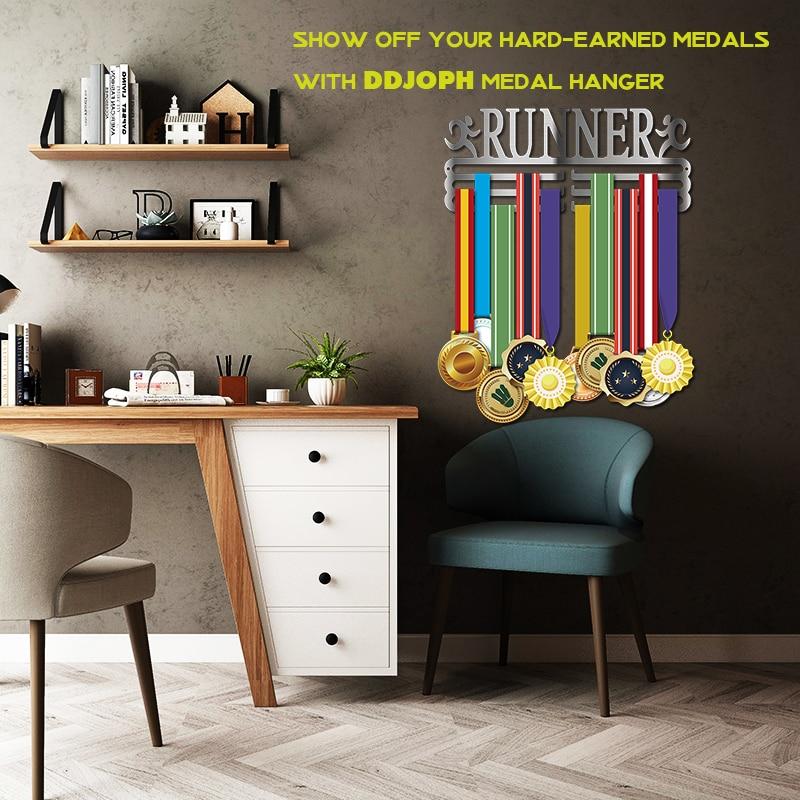La médaille d'acier inoxydable de cintre de médaille de coureur affiche le support d'affichage de médaille de coureur trois supports accrochants pour 36 + médailles