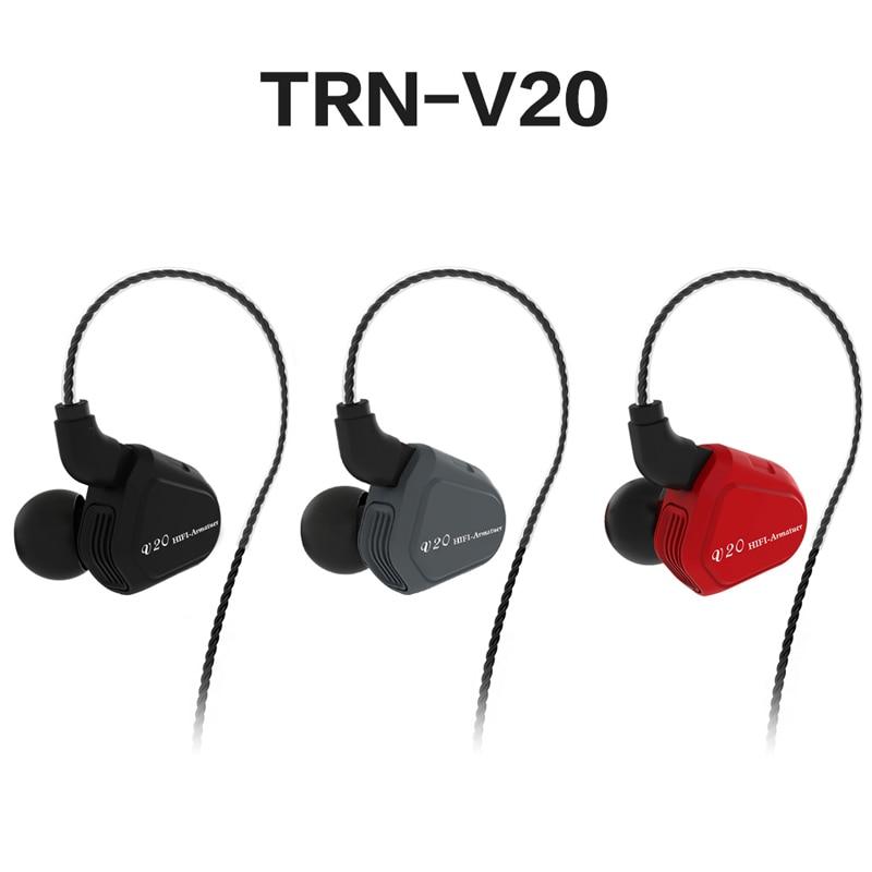 2018 Antcodo Newest TRN V20 1DD+1BA Hybrid In Ear Earphone HIFI DJ Monito Running Sport Earplug Headset With Mic 2PIN Detachable