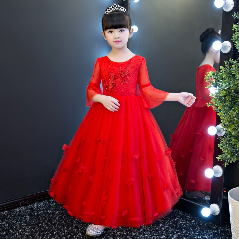 2017 New Luxury European Red Color Children Girls Princess Lace Dress Kids Elegant Embroidery Flowers Ball Gown Pageant Dress