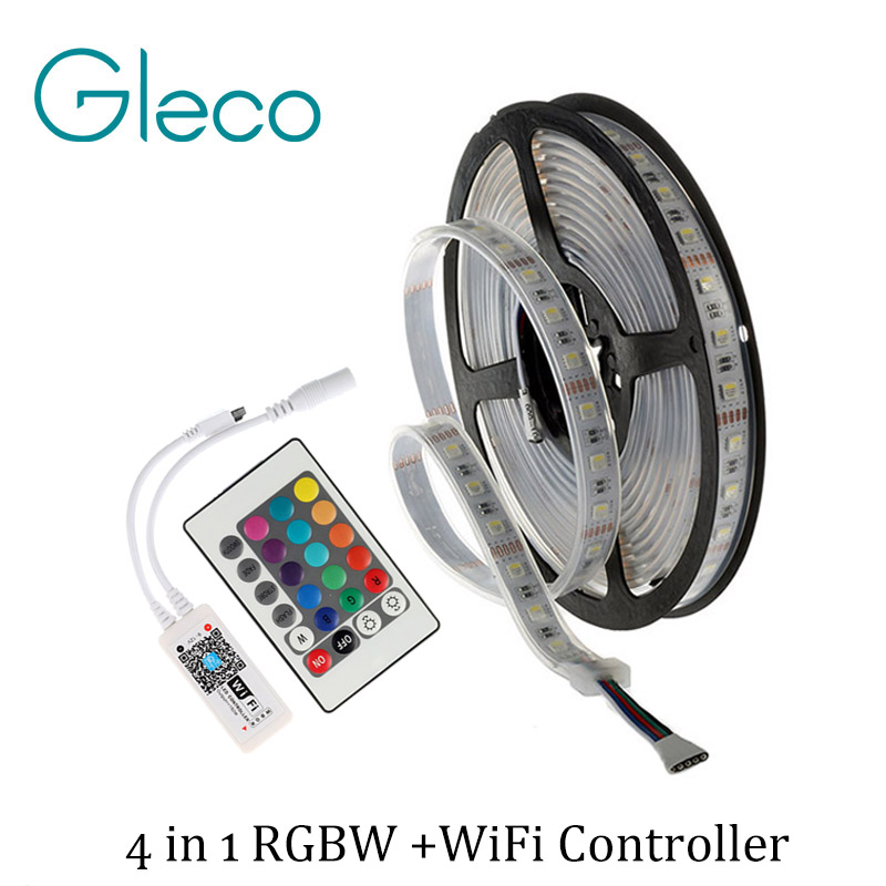 DC12V 4 IN 1 LED RGBW RGBWW LED STRIP 5050 60LED/m 5M IP20 IP65 with WIFI RGBW controller 4 color in 1 SMD 5050 LED Strip RGBW 10pcs 5 pin led strip wire connector for 12mm 5050 rgbw rgby ip20 non waterproof led strip to wire connection terminals
