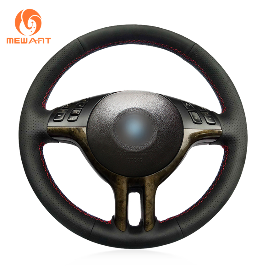MEWANT Black Genuine Leather Suede Marker Car Steering Wheel Cover for BMW E39 E46 325i E53 X5