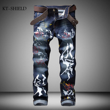 Fashion Brand Casual Printed Jeans Pants For Men Designer Denim Overalls Men stretch creative tide Freehand ink painting jeans