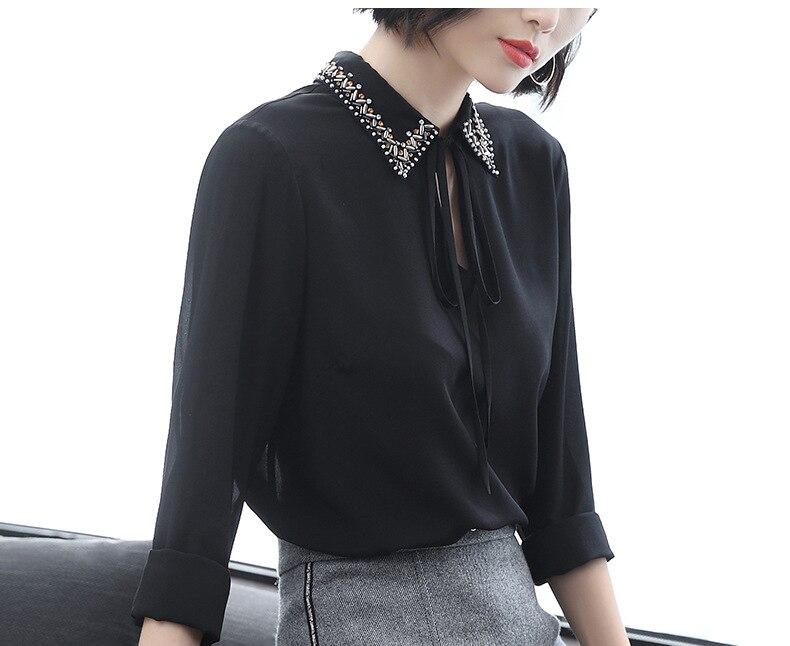 Casual Slik Tops Jaune Turn Blouse Q390 Collar Qualité Nouveau Streetwear Manches Printemps Haute 4 2019 Femmes down 3 Mode 5Lc3jAq4R