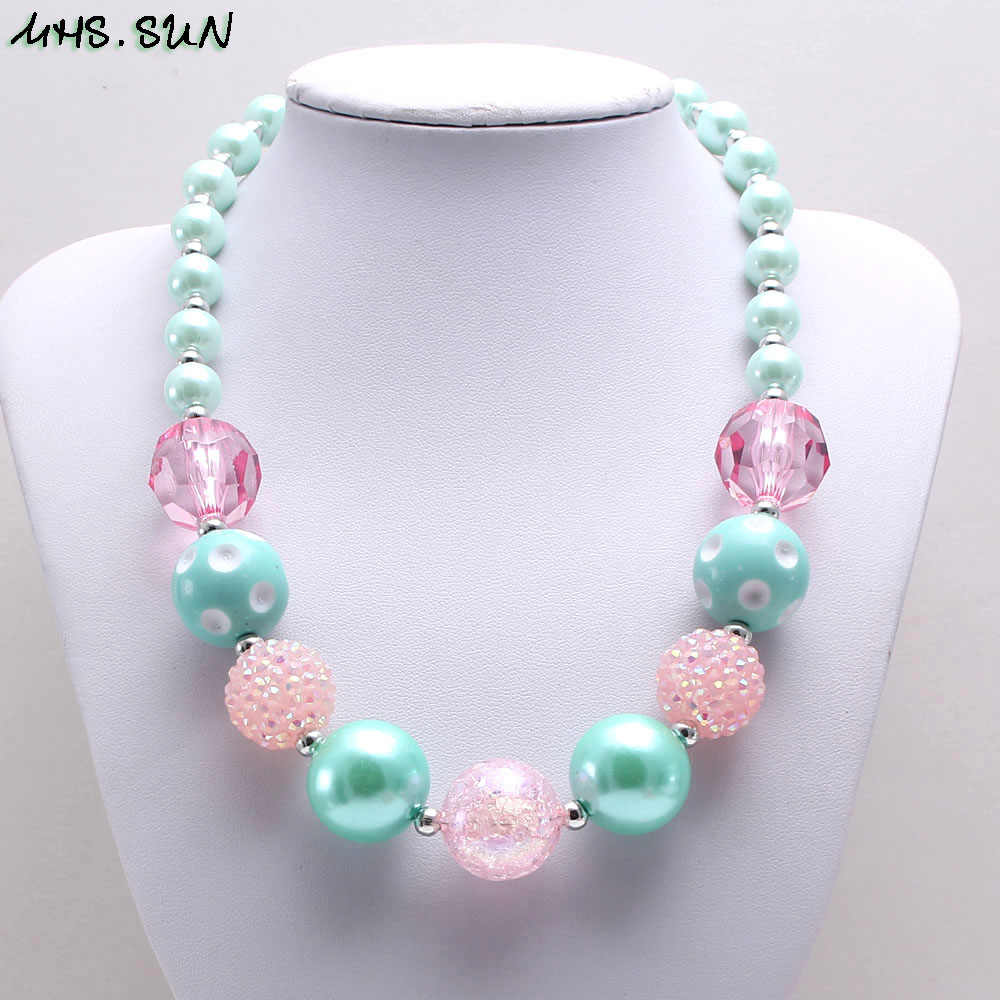 MHS.SUN 2019 New fashion bubblegum beads kids necklace diy chunky pearl necklace baby girls choker jewelry for party gift 1pc