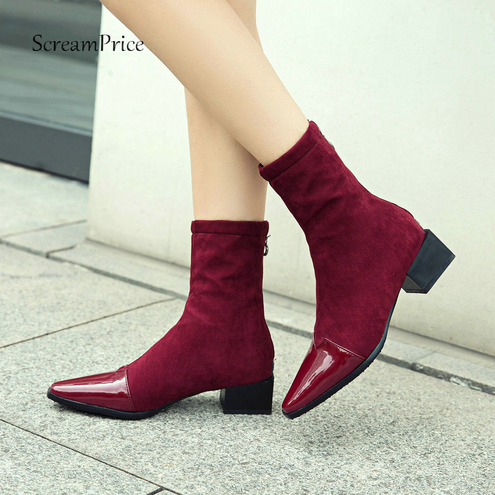 купить Women Fashion Square Toe Boots Thick Heel Ankle Boots Zipper Flock Leather Winter Ladies Shoes Black Pink Wine Red 2018 New онлайн