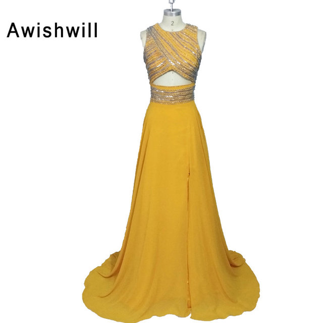 4befa09e95d Gorgeous Yellow Color Long Evening Gowns O-neck Court Train Sleeveless  Chiffon A Line Formal Party Prom Dresses Custom Made