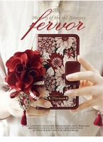 Dower Me Rode Zon Bloem Flip Portemonnee Handtas Lederen Case Voor iPhone X 8 7 6 Plus 5 5 S Samsung Galaxy Note 8 5 4 S8/7/6 Rand Plus