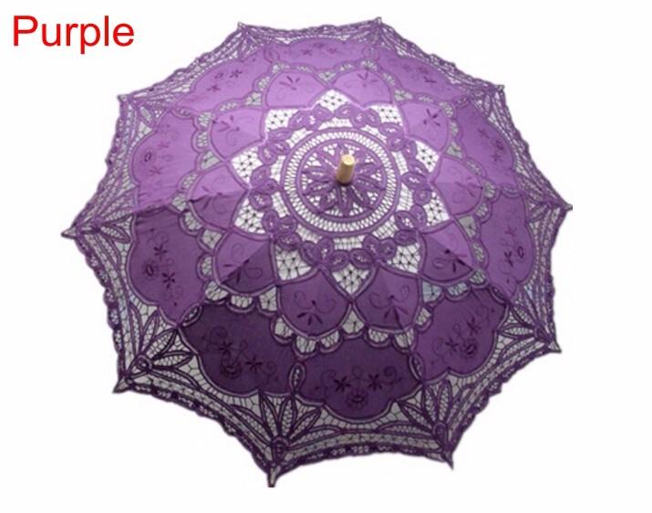 New Lace Umbrella Cotton Embroidery White/Ivory Battenburg Lace Parasol Umbrella Wedding Umbrella Decorations Free Shipping 27