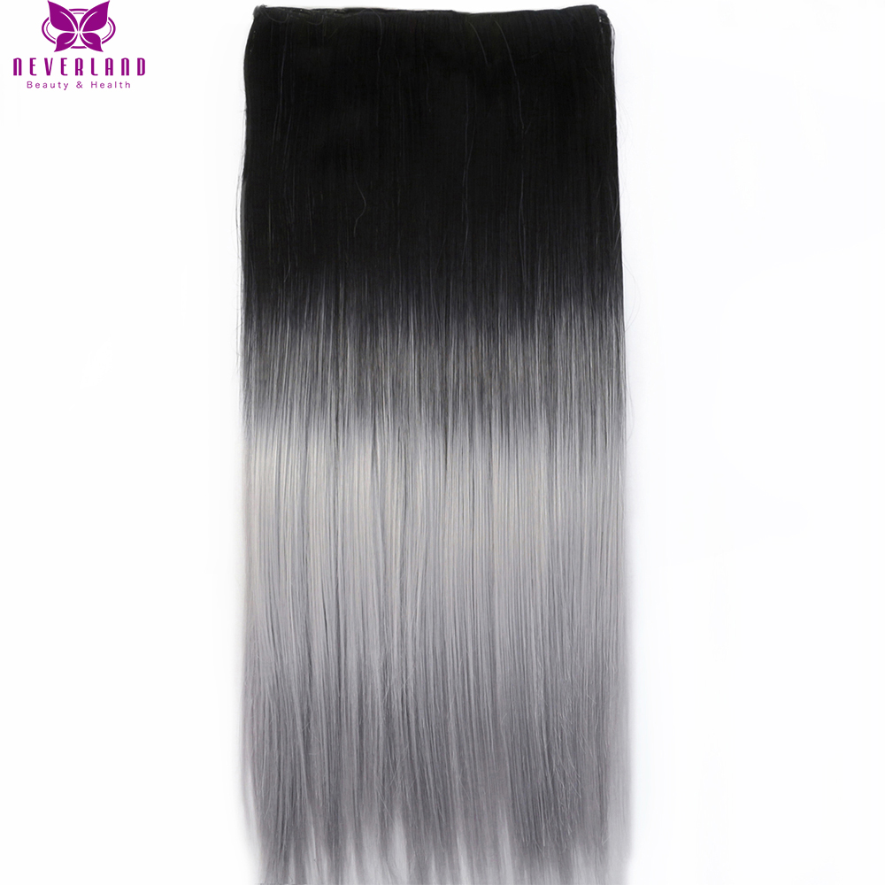 Neverland One Piece Hair Pad 60cm 5Clips Straight Synthetic Hairpieces Black to Silver Grey Ombre Clip