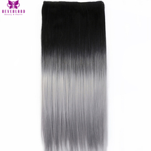Neverland One Piece Hair Pad 60cm 5Clips Straight Synthetic Hairpieces Black to Silver Grey Ombre Clip In On Hair Extensions