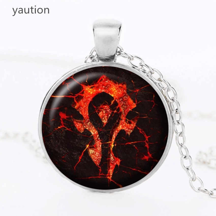 2017 Glass crystal necklace for women round pendant necklaces charm jewelry gifts boy and girl World of Warcraft