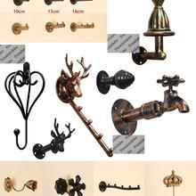 Grifo de cabeza de ciervo, flor de corona, retro, vintage, de hierro, armario, abrigo, sombrero, bolso de bufanda, gancho, estante de exhibición de pared, tienda de ropa
