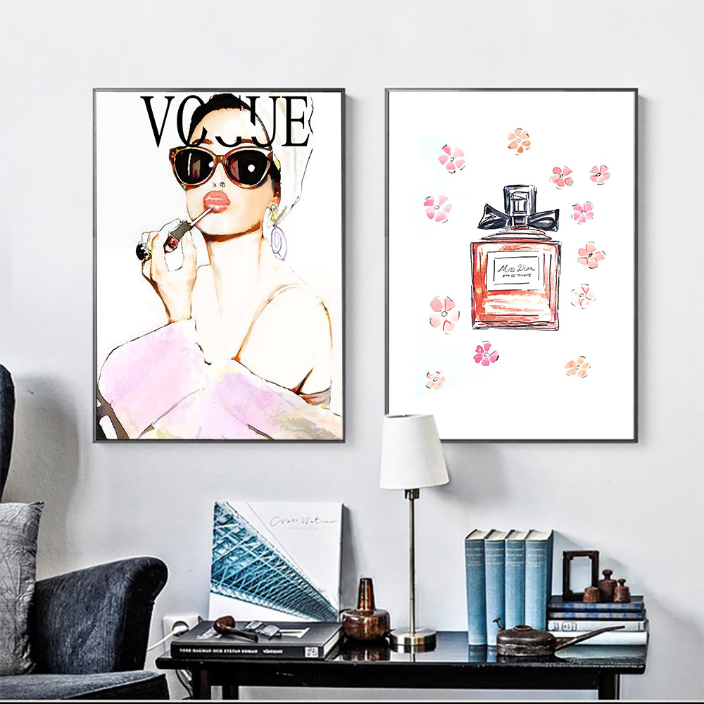 Abstract Pink Sexy Woman Canvas Painting Girls Nordic Wall Art Poster Prints Vogue Decoration Pictures Living Room Decorative