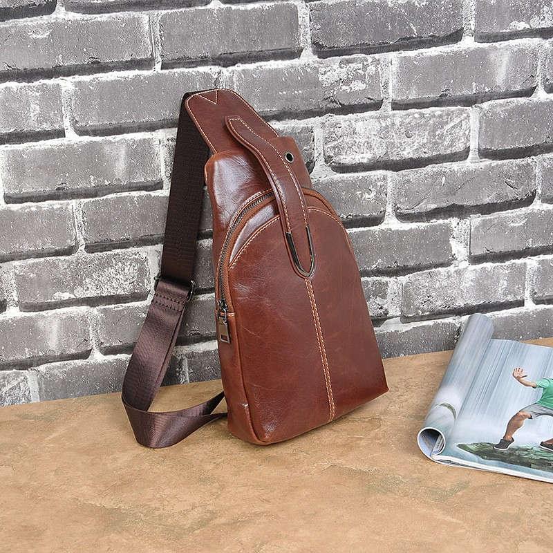 Men Faux PU Leather Chest Sling Bag Pack Fashion Male Casual Travel Cycling Crossbody Messenger Shoulder Money Bag Package (5)