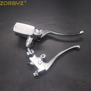 Image 5 - ZORBYZ 7/8 22mm Chrome Lenker Control Reservoir 14mm Bohrung Bremse Kupplung Hebel Für Kawasaki Honda Yamaha Suzuki