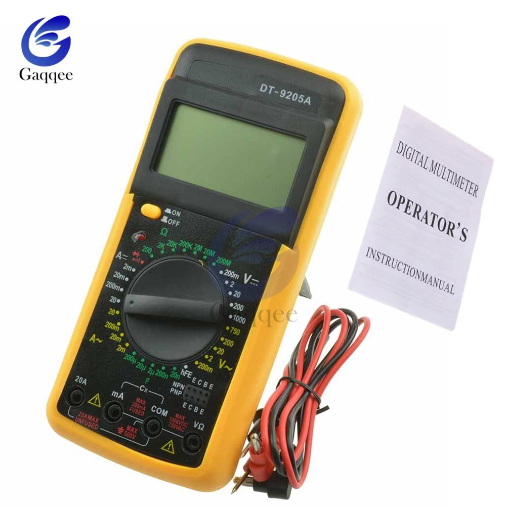 DT9205A LCD Digital Multimeter Multimetro Electric Ammeter Voltmeter Resistance Capacitance HFE Volt Amp Ohm AC/DC Tester Probe