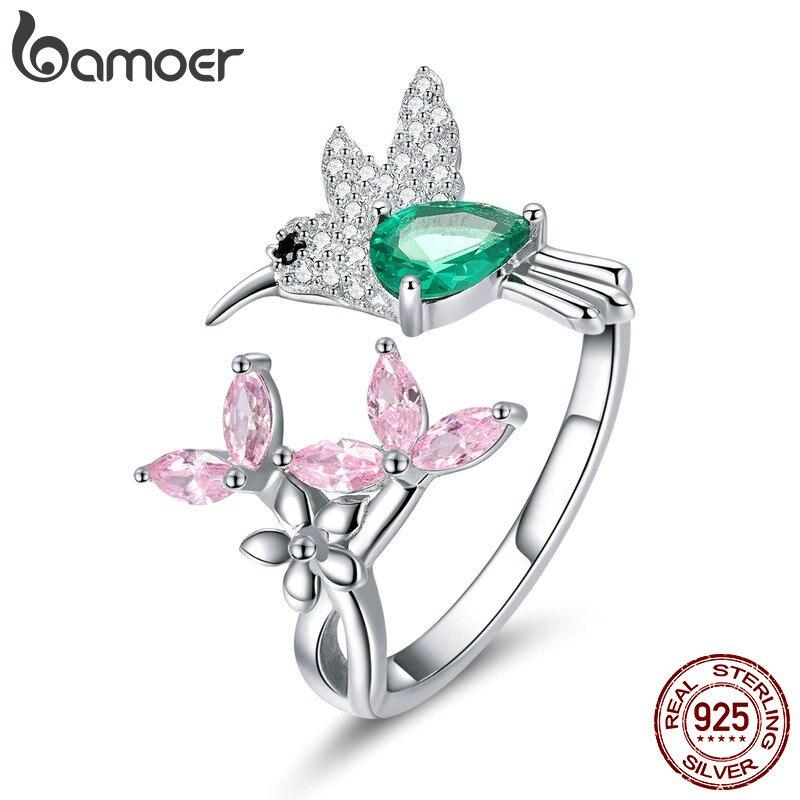 BAMOER 100% 925 Sterling Silver Adjustable Hummingbird Gift Luminous Clear CZ Finger