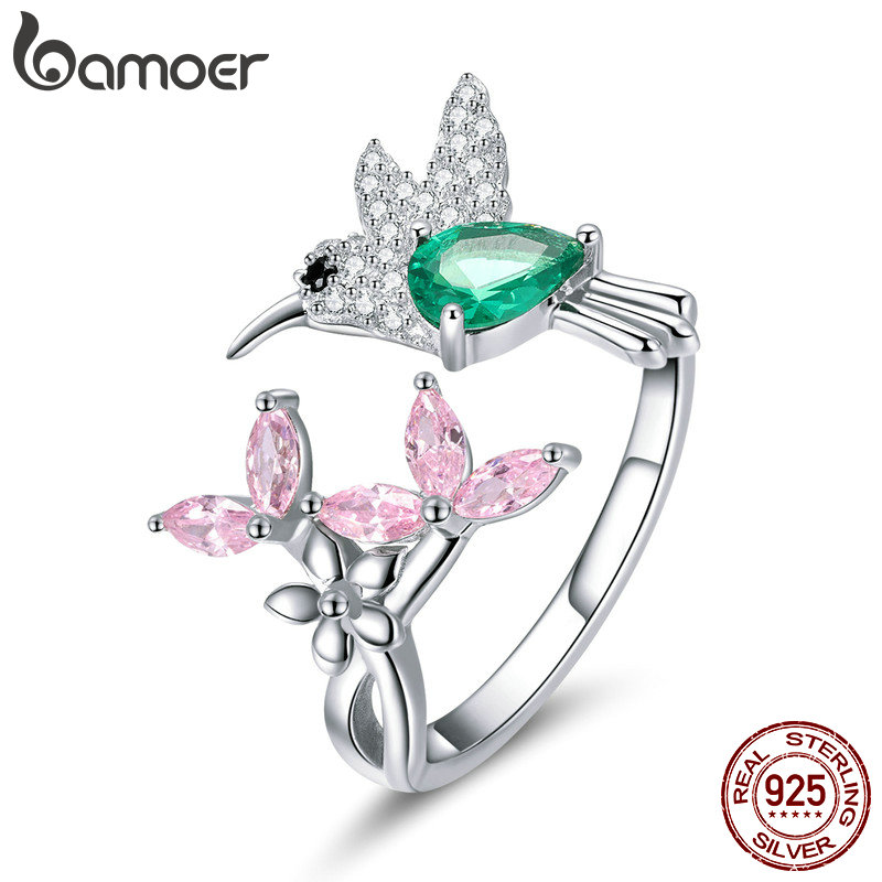 BAMOER 100% 925 Sterling Silver Adjustable Hummingbird Gift Luminous Clear CZ Fi