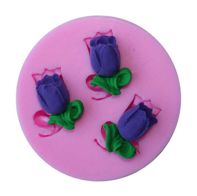 Small Size Tulips Flowers Modeling fondant cake molds soap chocolate mould for the kitchen baking cake tool G027