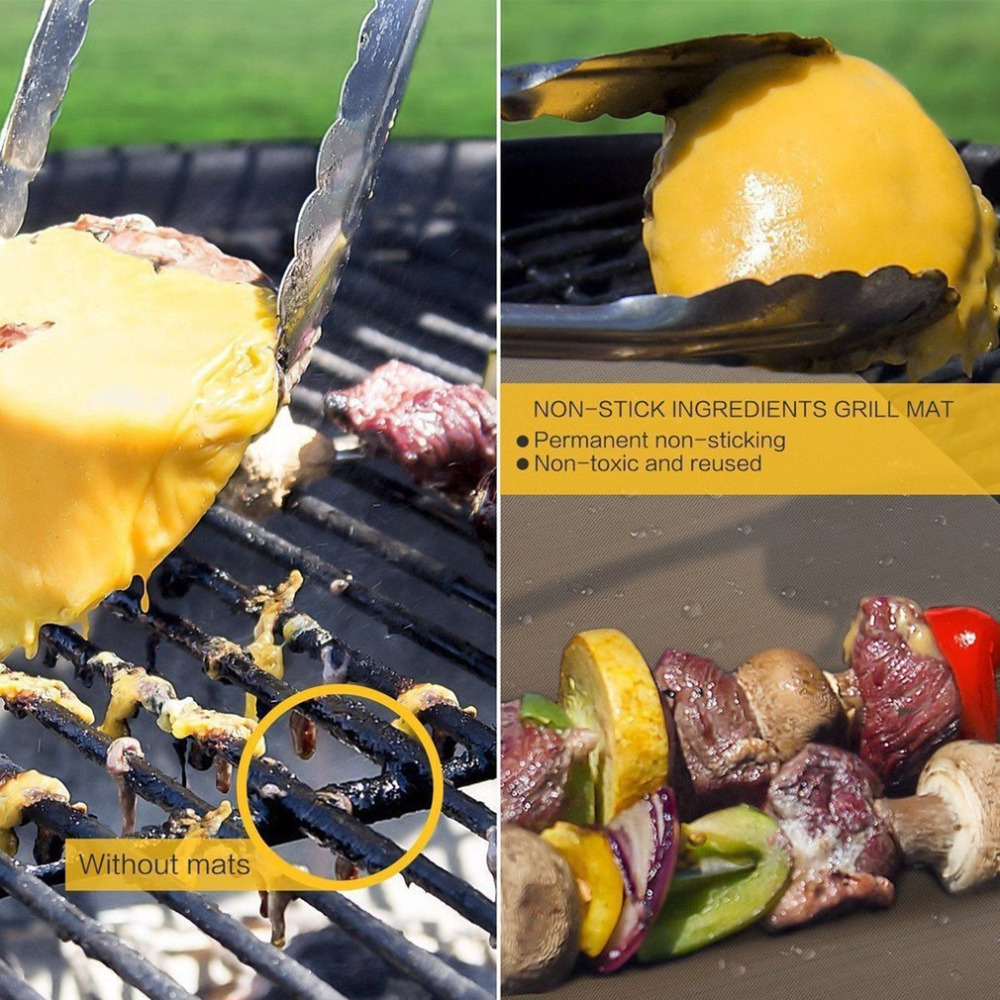 2018 Thick Barbecue Grill Mat 33*40CM Non-stick Reusable Golden 4PCS/Set BBQ Grill Sheet & Baking Mats for Outdoor Picnic