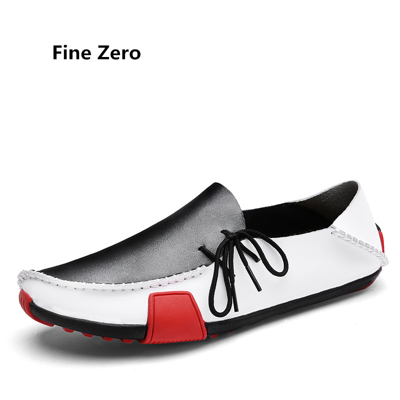 Fine Zero Man Spring big size 46 47 loafer Cowhide Split Leather Male Soft driving Oxford Summer Style Men business dress flats