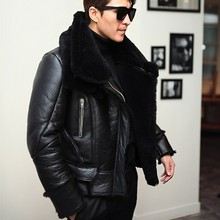 Новинка, мужская зимняя куртка из овечьей шерсти с натуральным мехом, куртка-Авиатор с меховой подкладкой, кожаная куртка для мотоциклистов, приталенная куртка-бомбер