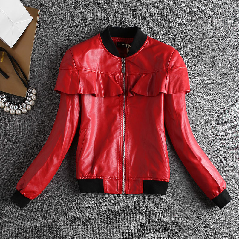 Spring Autumn Women Short PU Faux   Leather   Zipper Jackets Female Motorcyle Jacket Full Sleeve Coats Casual Sweet   Leather   &   Suede