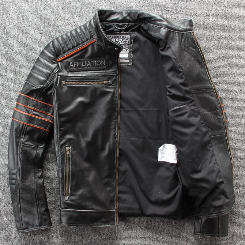 Image 4 - HARLEY DAMSON Vintage Black Men Embroidery Skulls Biker's Leather Jacket Plus Size 4XL Genuine Cowhide Slim Fit Motorcycle Coat-in Genuine Leather Coats from Men's Clothing